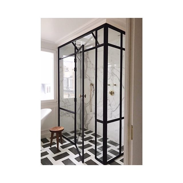 We're back on steel shower enclosures for our Pemberton project and revisiting this beauty we created (a labor of love) for #ccandcoprojectparis. #
