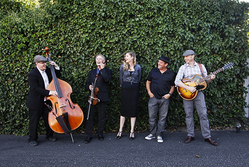 The Tipsy Gypsies Brian Lanzone, left, Allan Dick, Hilary Langdon, Daryl, Vandruff, and Forrestt Williams.Photo by Joe Johnston 08-17-15