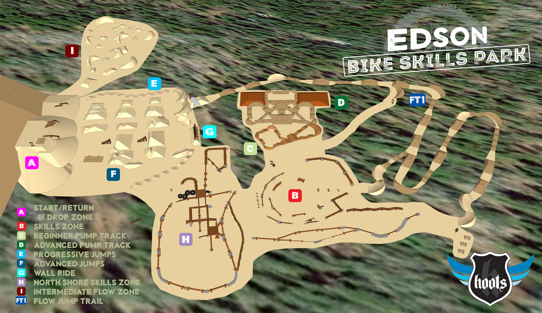 The Edson Bike Skills Park will have 10 diverse areas including dirt jump zones, two pump tracks, skills areas, and a flow trail. * 2016 design shown.