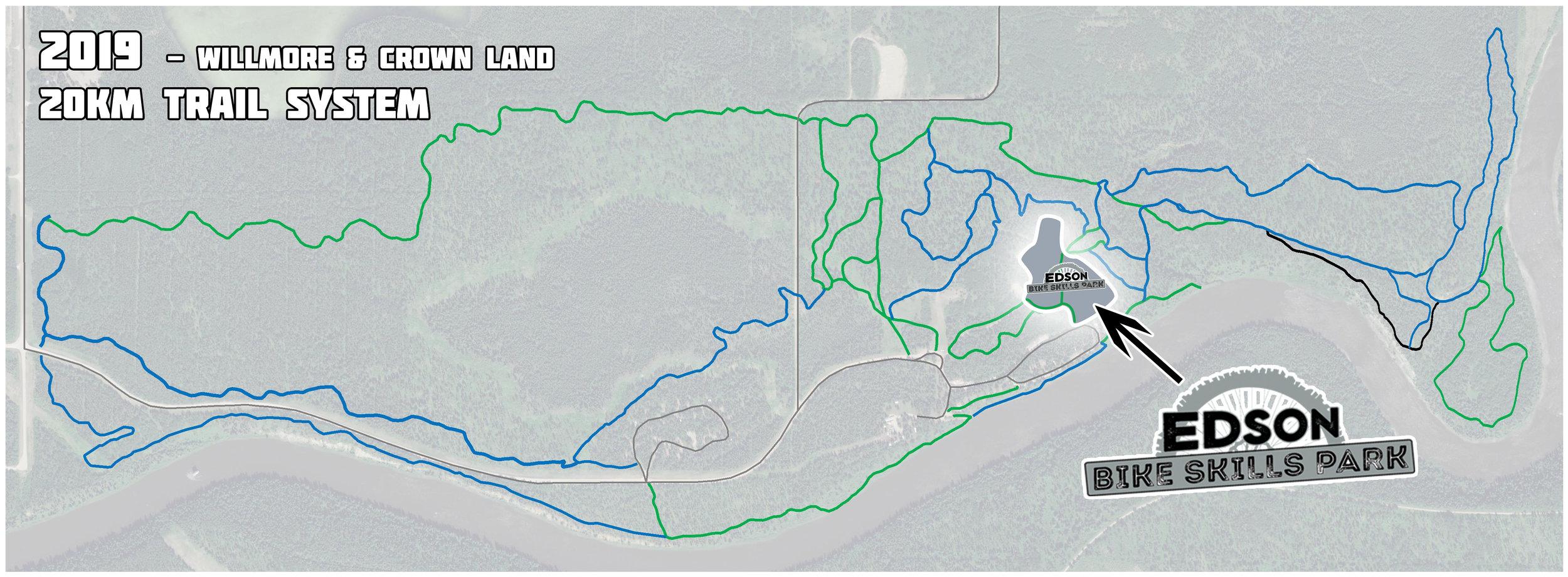 2019 trail system with Edson Bike Skills Park.