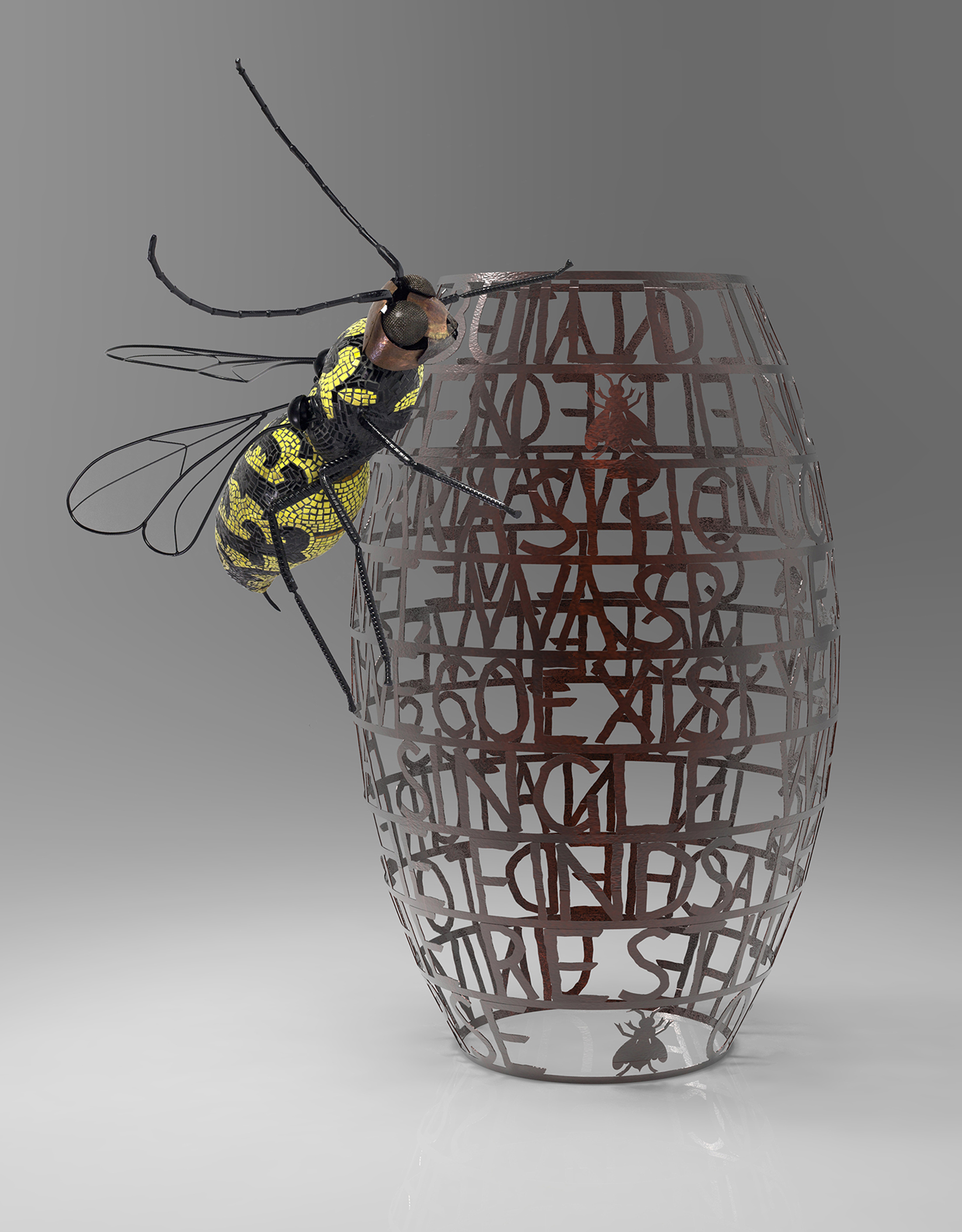This is the rendered proposed piece.  However, the wasp will face down and there will be a 5' hexagonal base to deter climbing.