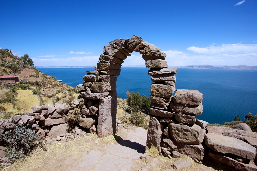 Rock arch on Taquile Island, Lake Titicaca, Peru