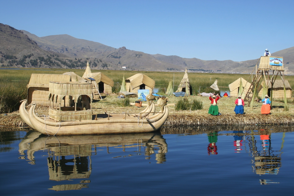 Floating reed islands of Los Uros, Lake Titicaca, Peru