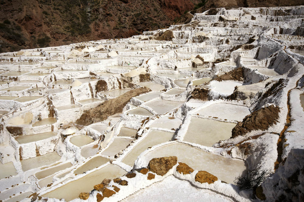 Ancient natural salt mines of Salineras near Maras, Peru