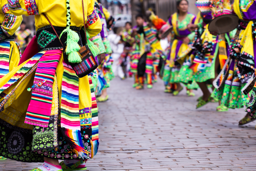 Peruvian dancers at a parade in Cusco, Peru
