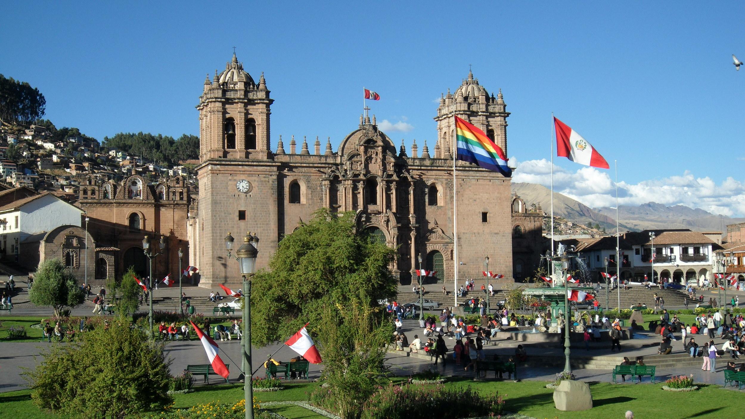 Plaza de Armas Cathedral colonial architecture, Cusco, Peru