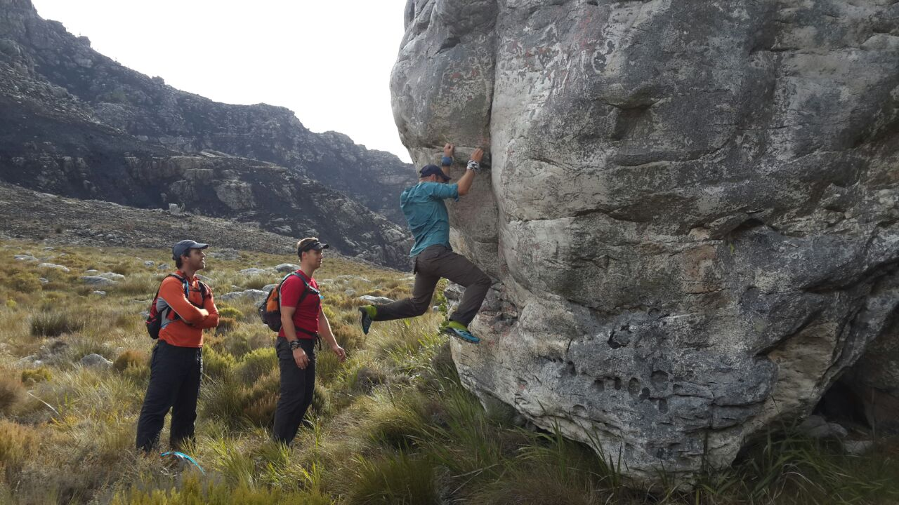 Checking out some sweet lines on the  Springstygbeugel  camping area boulders