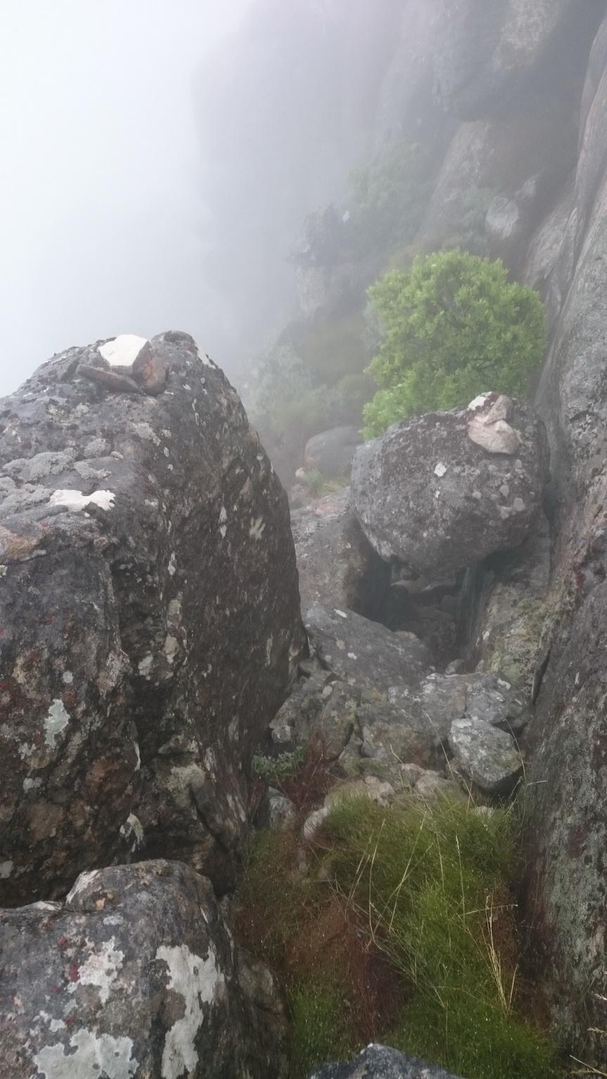 Stepping down Squaretower Peak