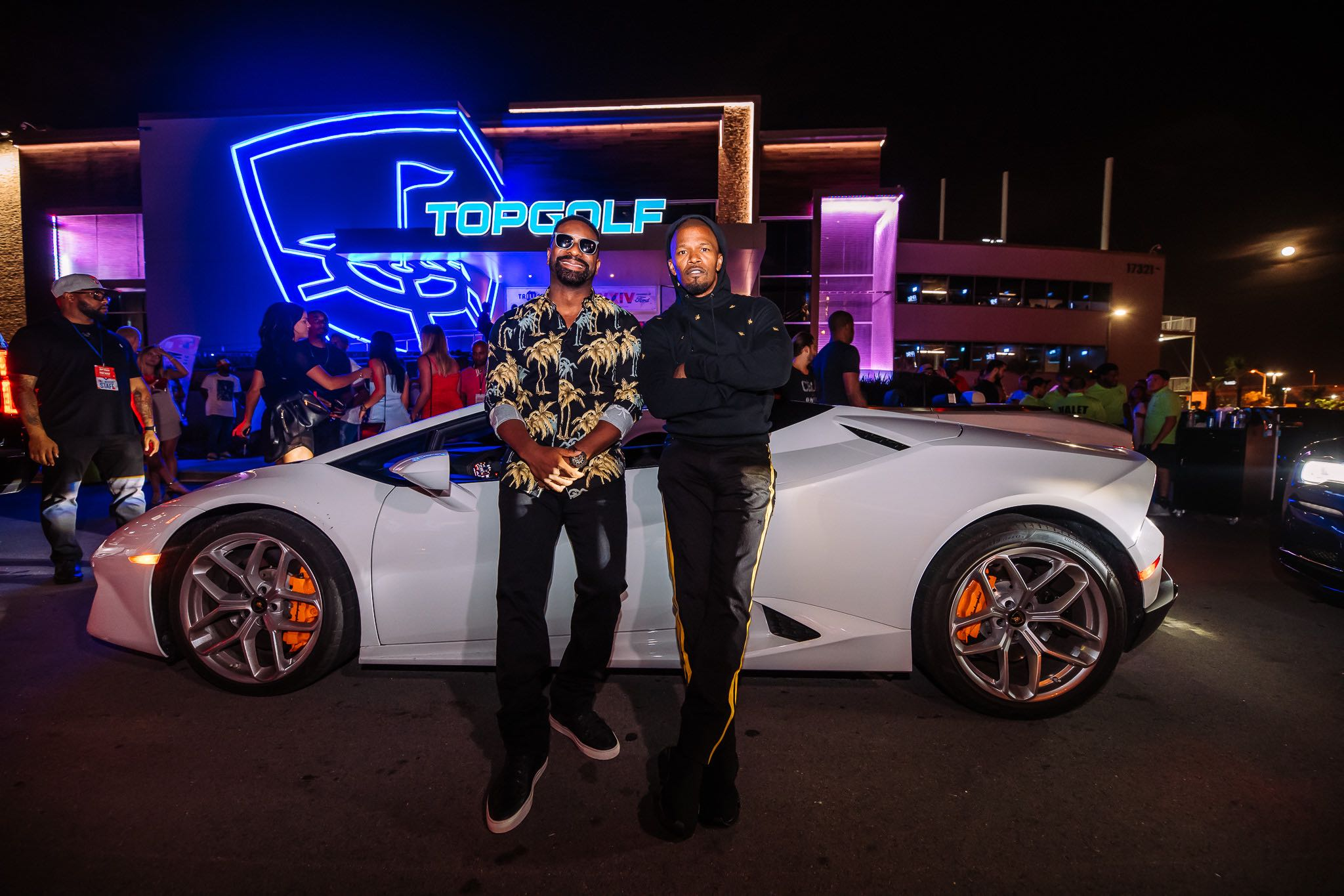 Irie and Jamie Foxx at TopGolf Miami Gardens