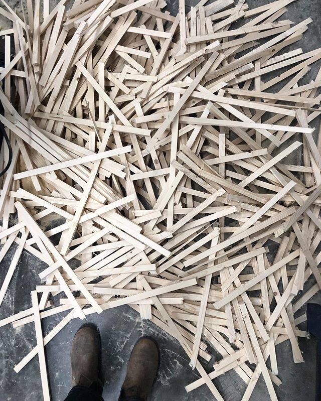 These are the remnants from over 390 bandsaw cuts and the pile is not done growing yet! I love these little reminders of the progress we've made!. . . . #studioscene #process #littlebylittle #repetition  #bandsaw #woodworking #experiencecollective