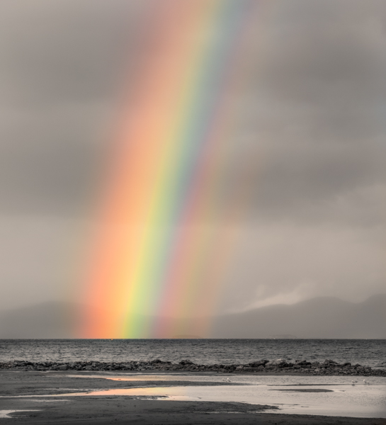 Champlain Rainbow Canon EOS IDS Mark III 160mm 1/20 sec f14 ISO 125 B&W and color