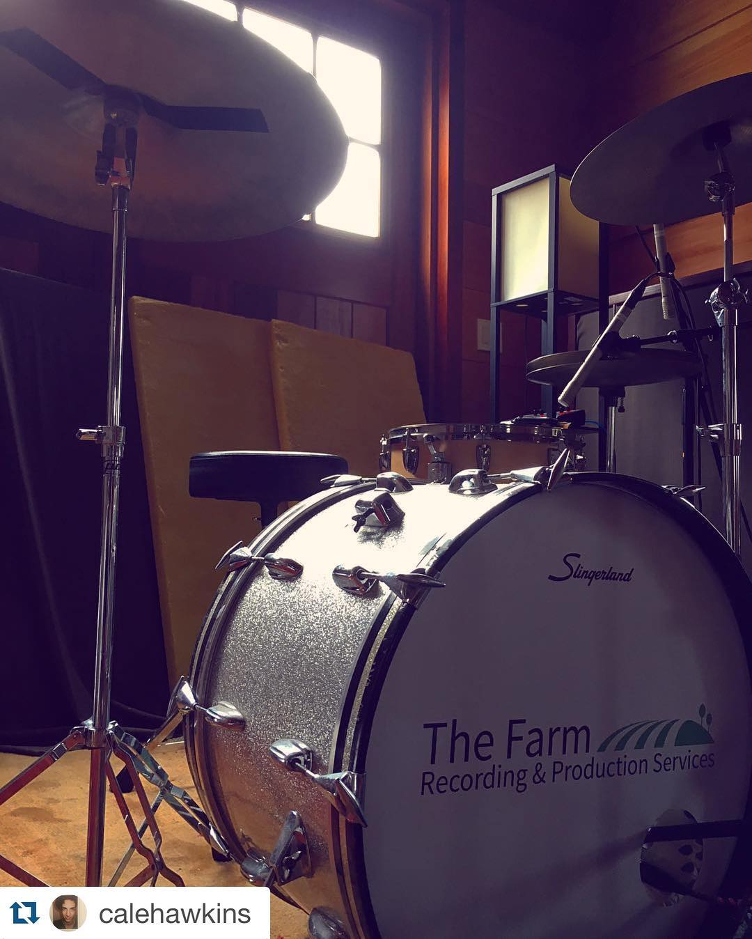 #Repost @calehawkins with @repostapp.  ・・・  Getting out of the city to record drums, percussion and sonic experimentations for two new originals. Great to be back at @thefarmrecording #thefarmstudio