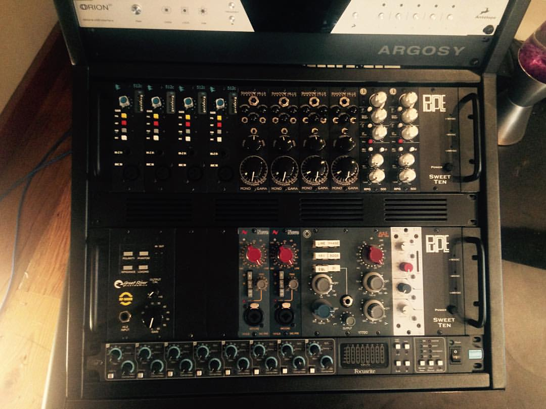 We now have a full 24 channel front end! Two new #shadowhillsindustries Mono Gama's, also traded in the #greatriverelectronics ME-1NV for a second MP-500NV.  So, brb, I'll just be rewiring the entire control room for the next day. #thefarmstudio
