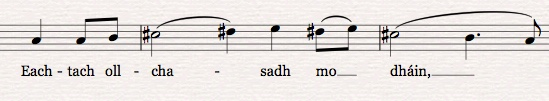 Columba  opening phrase, in 5/4 with a raised 4th (gotta have that Lydian flavour!)