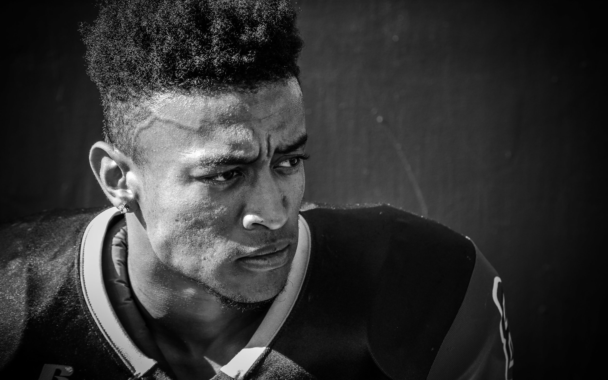 The Orange Coast College Pirates football teams sophmore defensive back (8) gets mentally prepared before the Pirates play against The Fullerton College Hornets. The Hornets would win 35-14  away in Huntington Beach Calif., on November 6th 2016. Photo By: Daniel Bowyer / Sports Shooter Academy