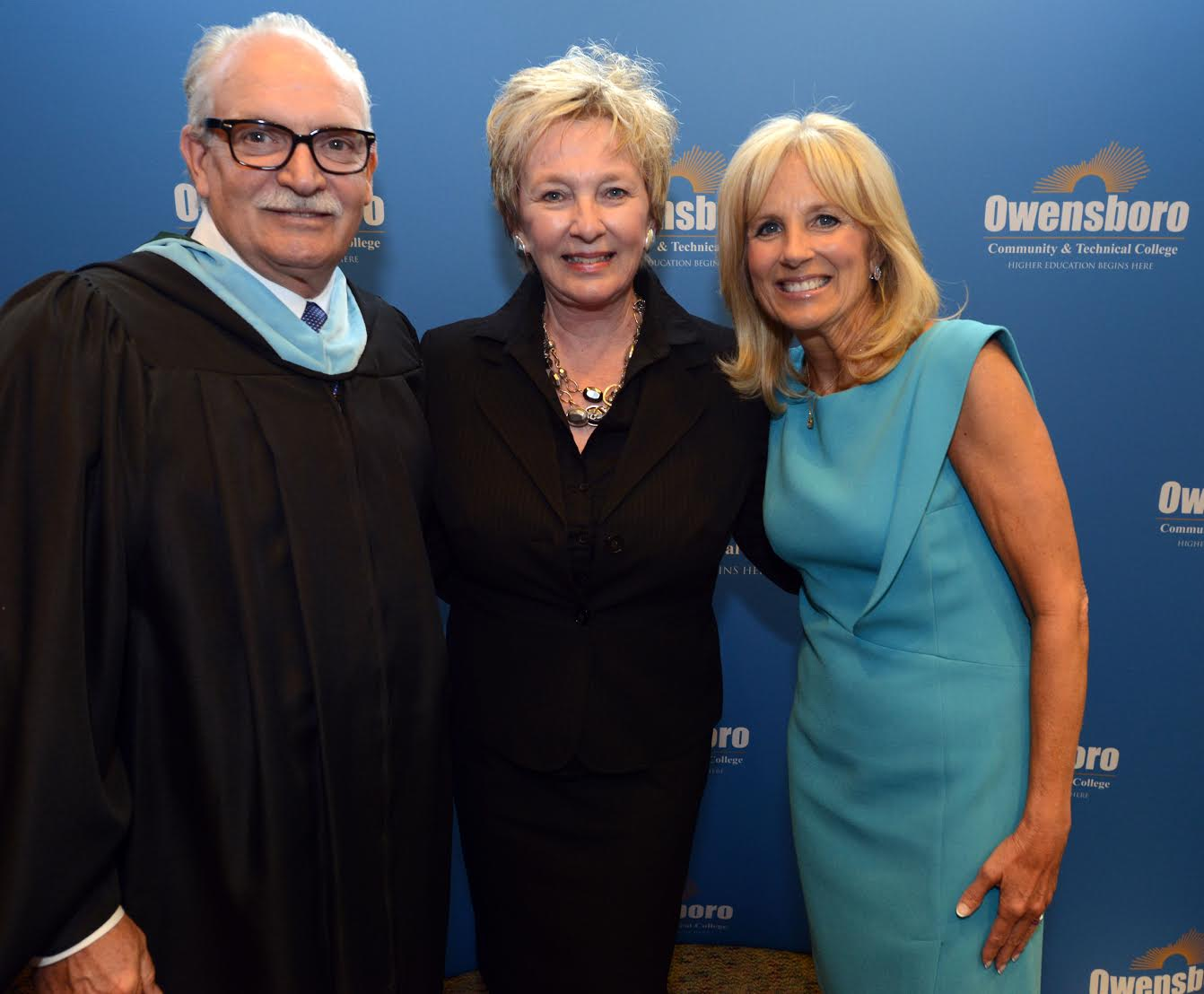 Mike, his wife Joan, and Dr. Jill Biden at the Owensboro Community & Technical College graduation ceremony.