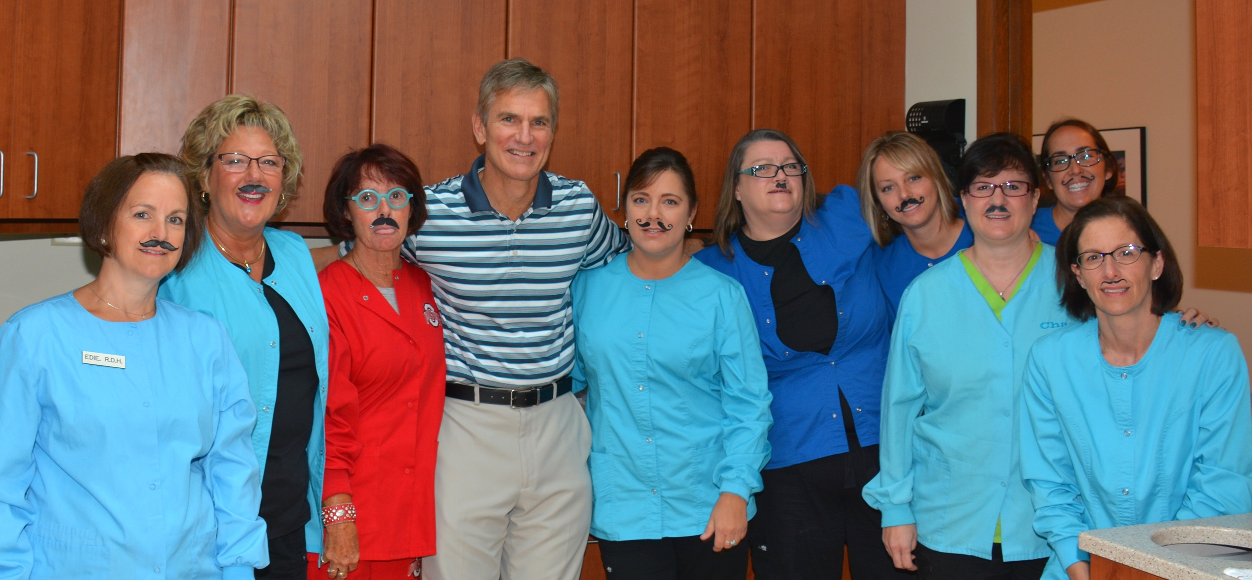Having a little fun in honor of Dr. Bowen shaving his mustache after having it for many, many years. You all look marvelous!