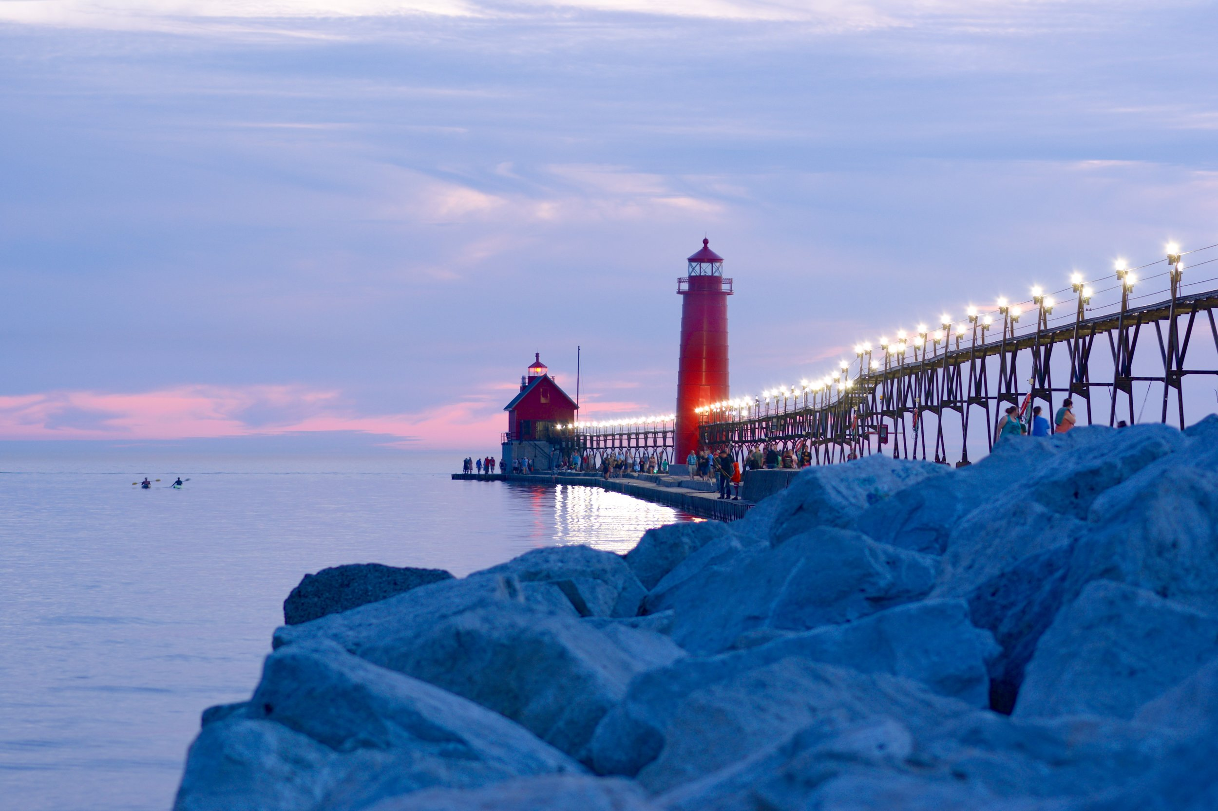 Summertime in Grand Haven (before the lights were removed from the catwalk).