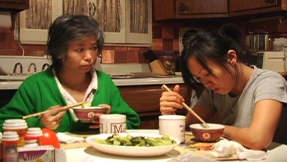 Nancy Eng as Mom, Jennifer Li as daughter.