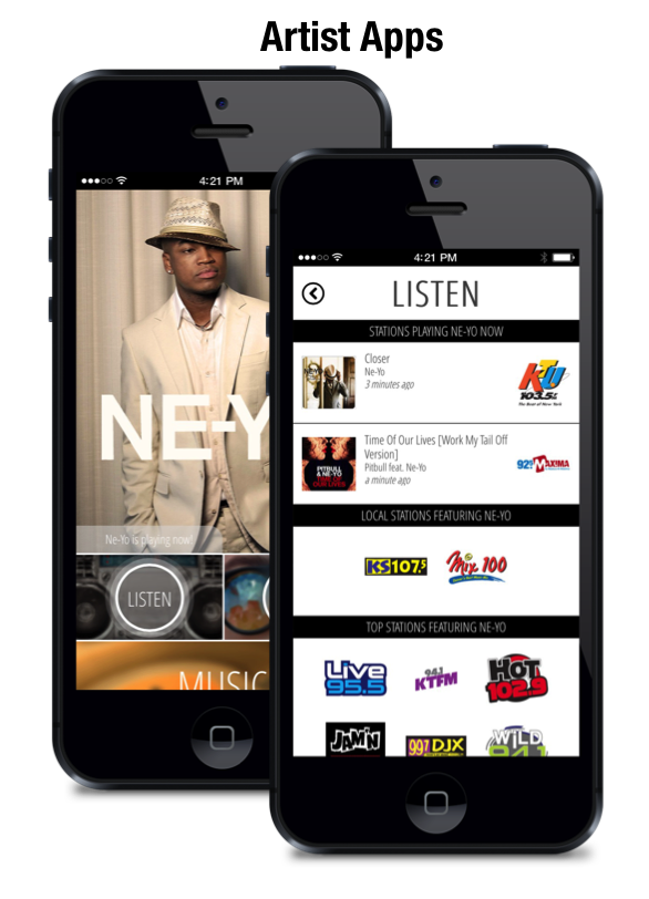 Artist branded apps that give artists complete control over content and gives artists the power to funnel their fans to radio stations.