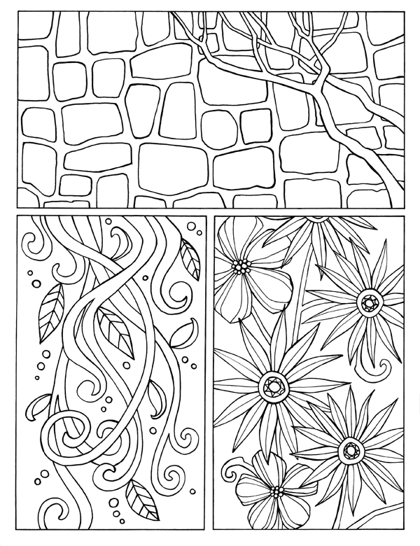 Flowers and Stones Tri Panel