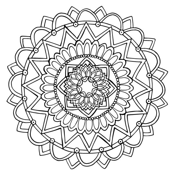 Simple Symmetrical Mandala Coloring Sheet