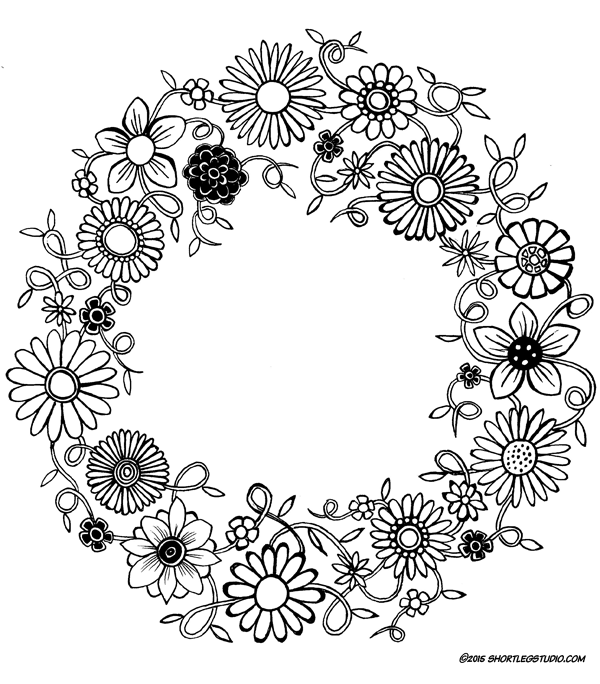 Winter Flower Wreath Coloring Sheet
