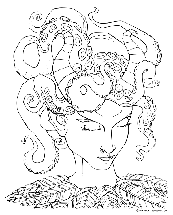 Tiefling octopus tentacle headdress drawing