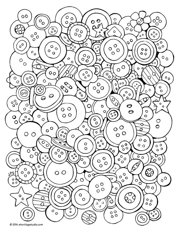 Fun button coloring sheet