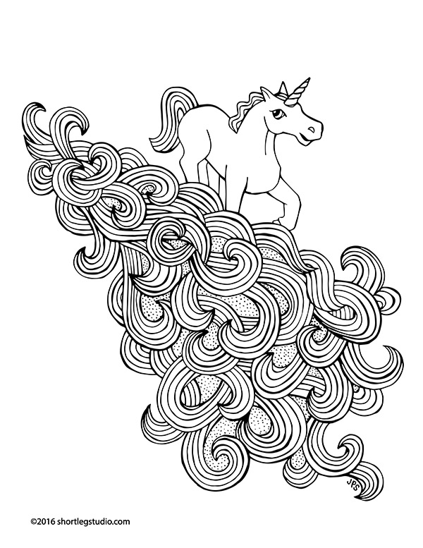 Unicorn Rainbow Waterfall coloring sheet