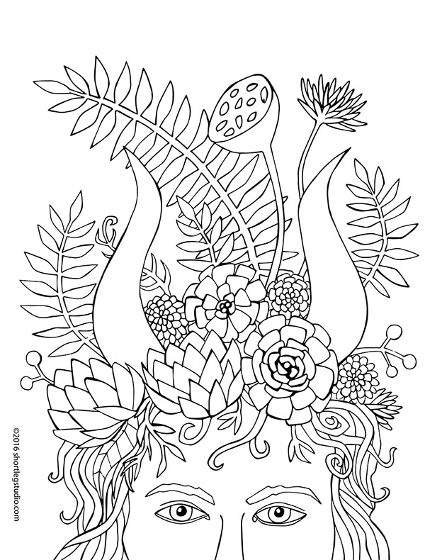 Tiefling Headdress Coloring Page