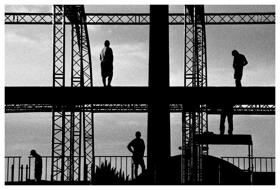 Сonstruction on Poklonnaya Hill, workers