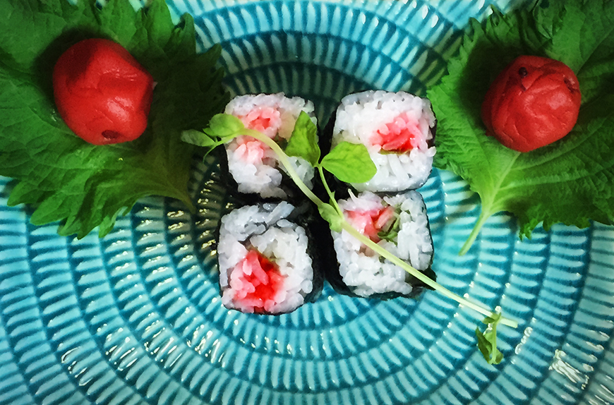 Red Alert!  Umeshiso Maki (Sour plum and Shiso leaf roll)   - The Shiroyama Sushi Co.