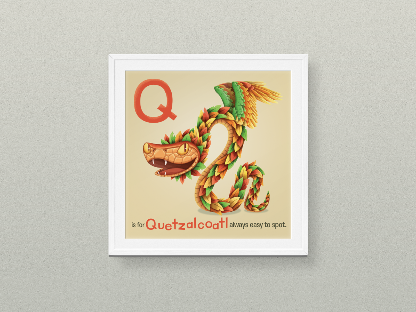 "Q is for Quetzalcoatl 6x6"" print, by  Hazy Dell Press"
