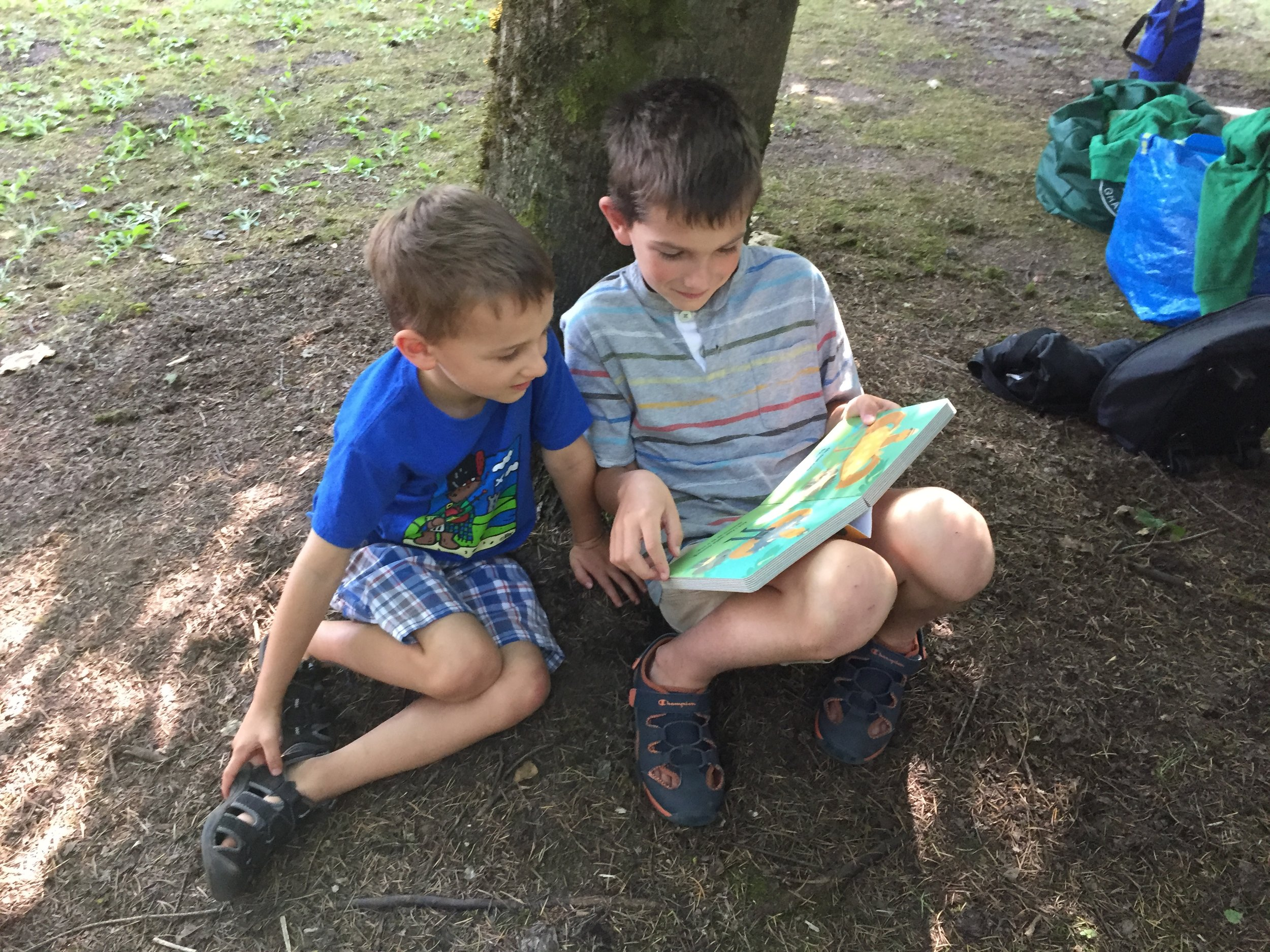 Two brothers read Get Dressed Sasquatch at the 2017 Oregon Bigfoot Festival (Troutdale, Oregon).
