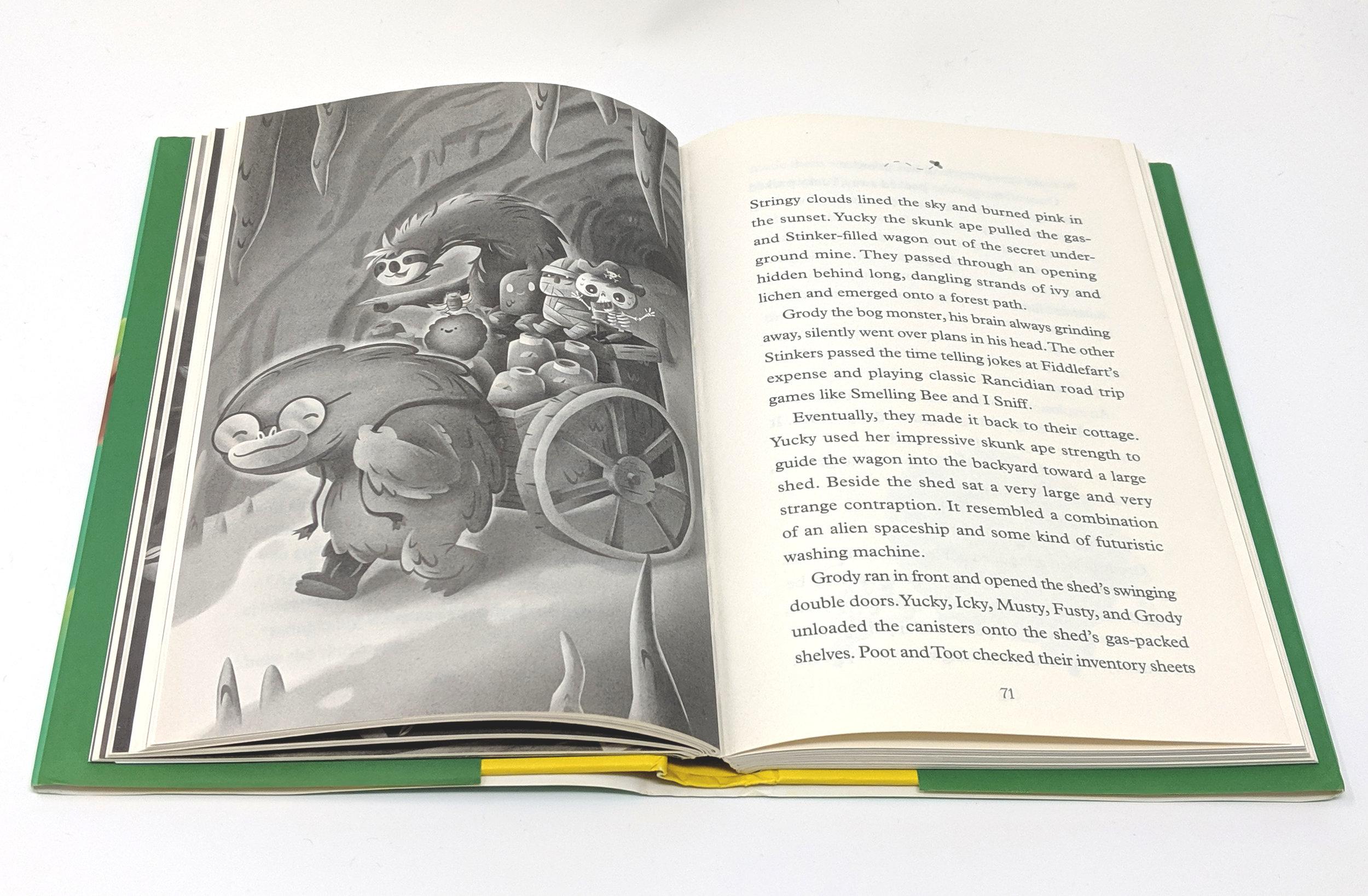 Interior spread,  Hobgoblin and the Seven Stinkers of Rancidia . Hazy Dell Press, 2019.
