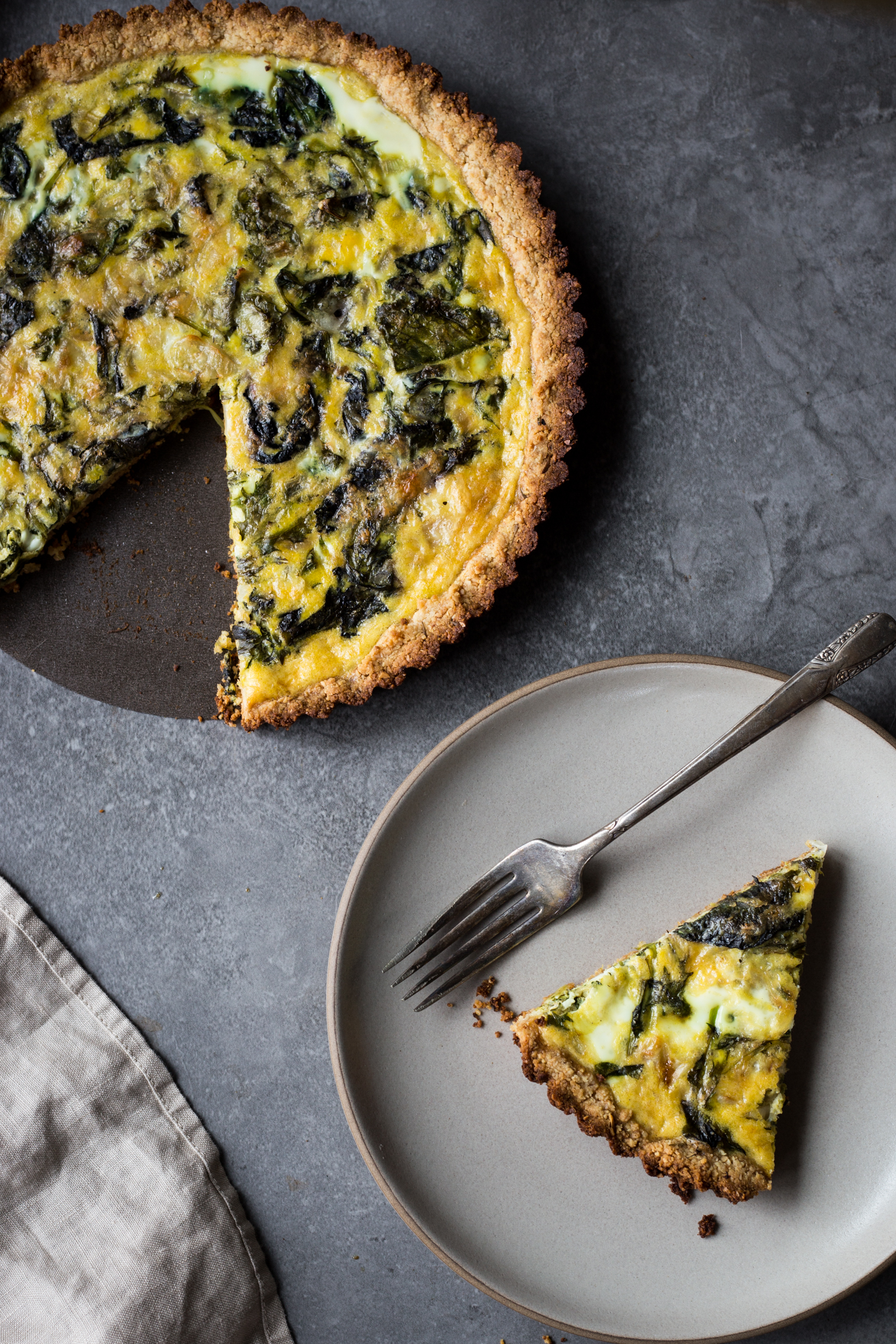 Mustard Green + Gruyere Quiche with Almond Flour Crust  ( use the spicy spring mix here! )