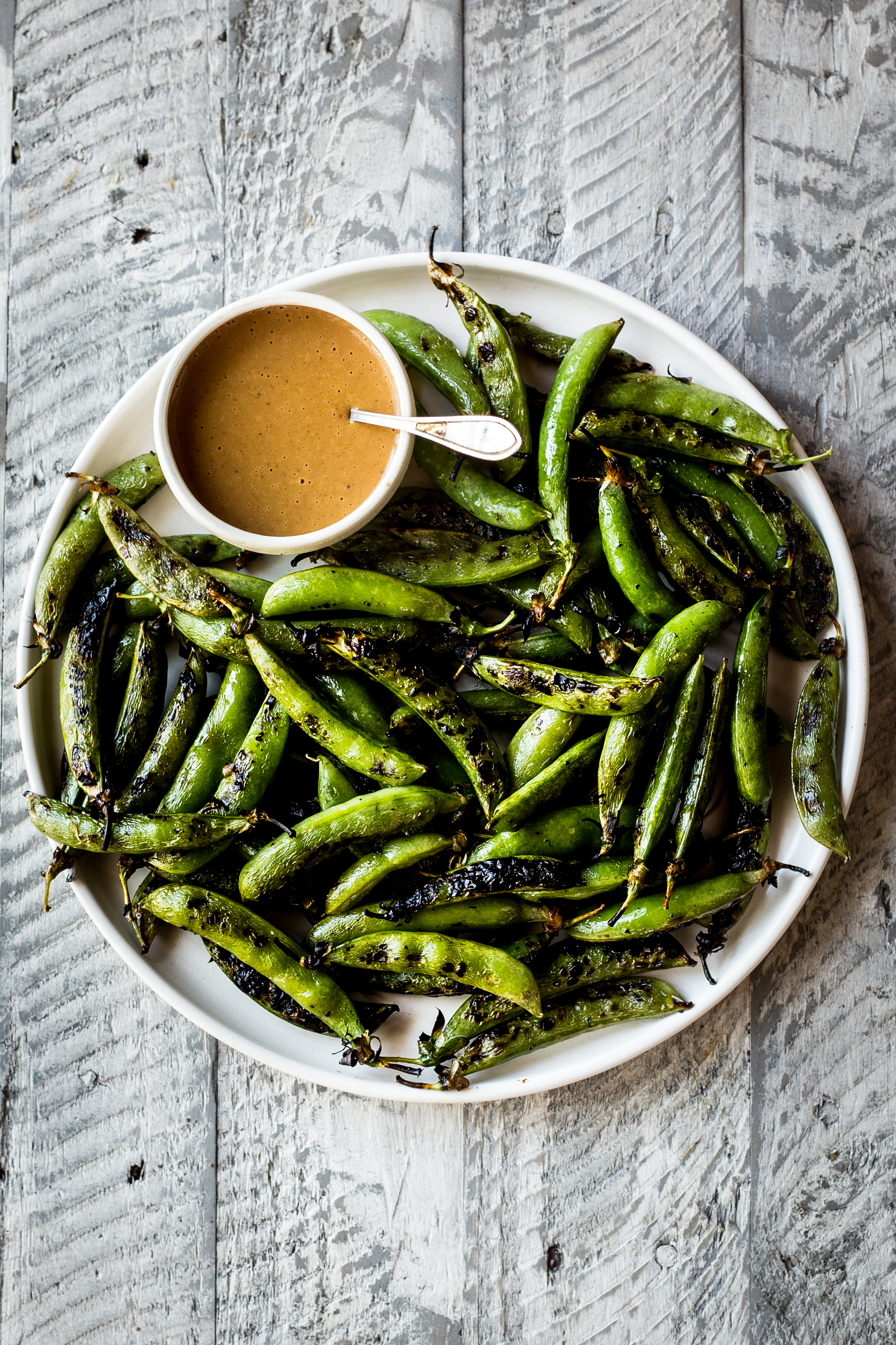 Grilled Sugar Snap Peas with Spicy Peanut Sauce