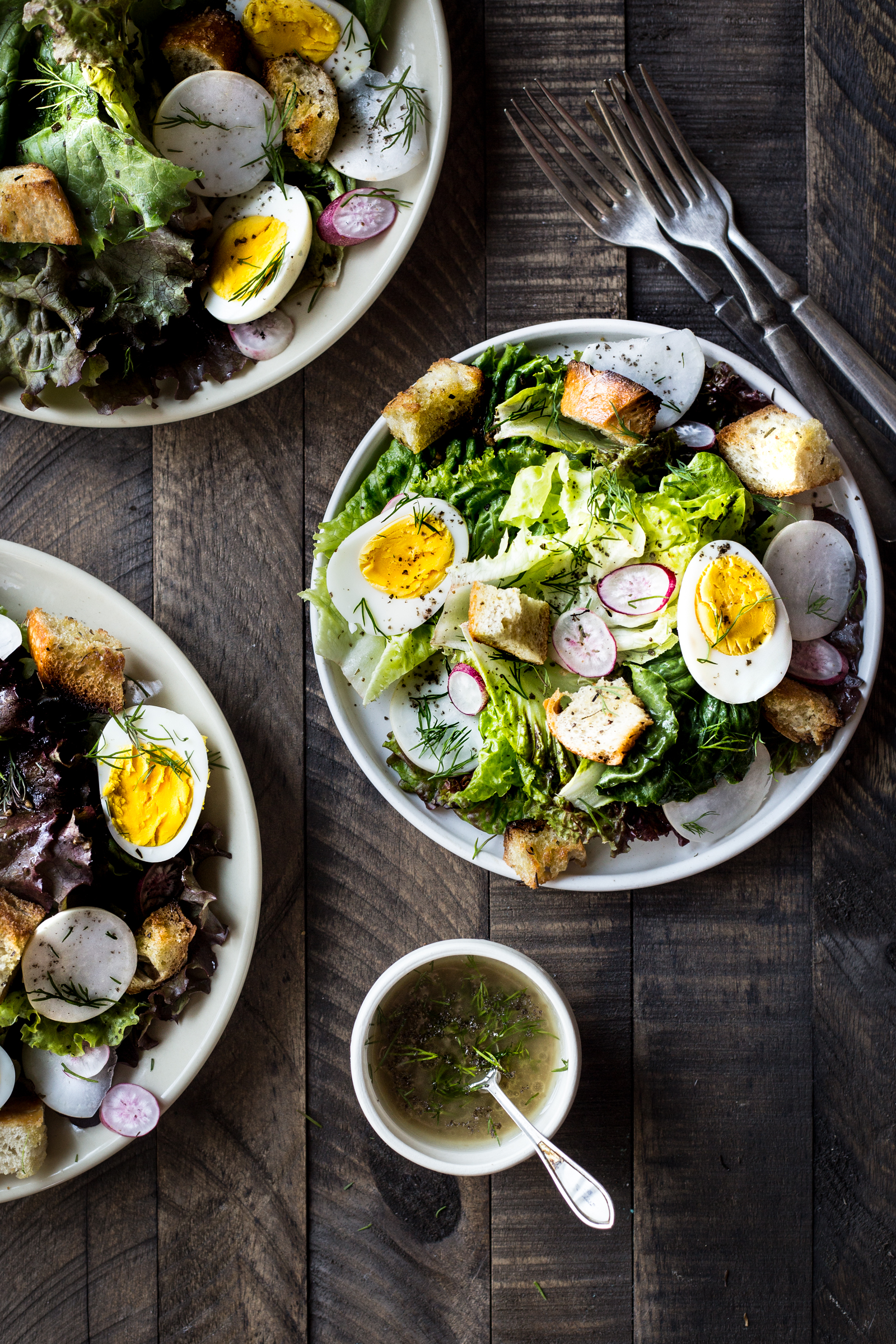Spring Salad with Garlic Croutons ---instead of using garlic scapes you the garlic from the box!