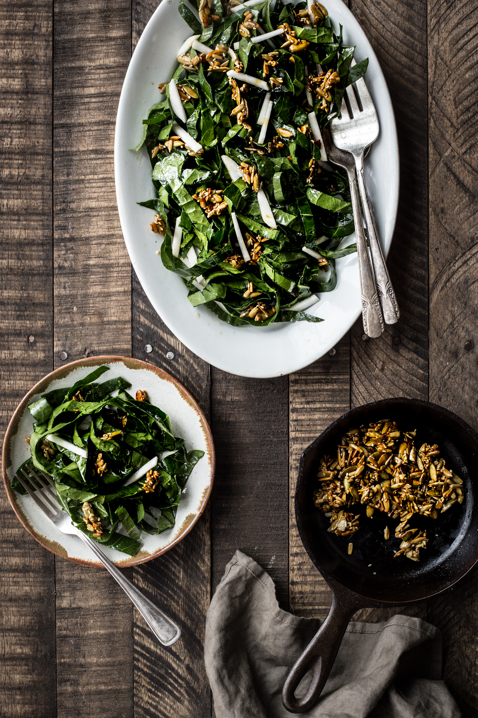 Collard Green & Turnip Slaw With Spicy Seed Brittle  (substitute the turnips with radishes)