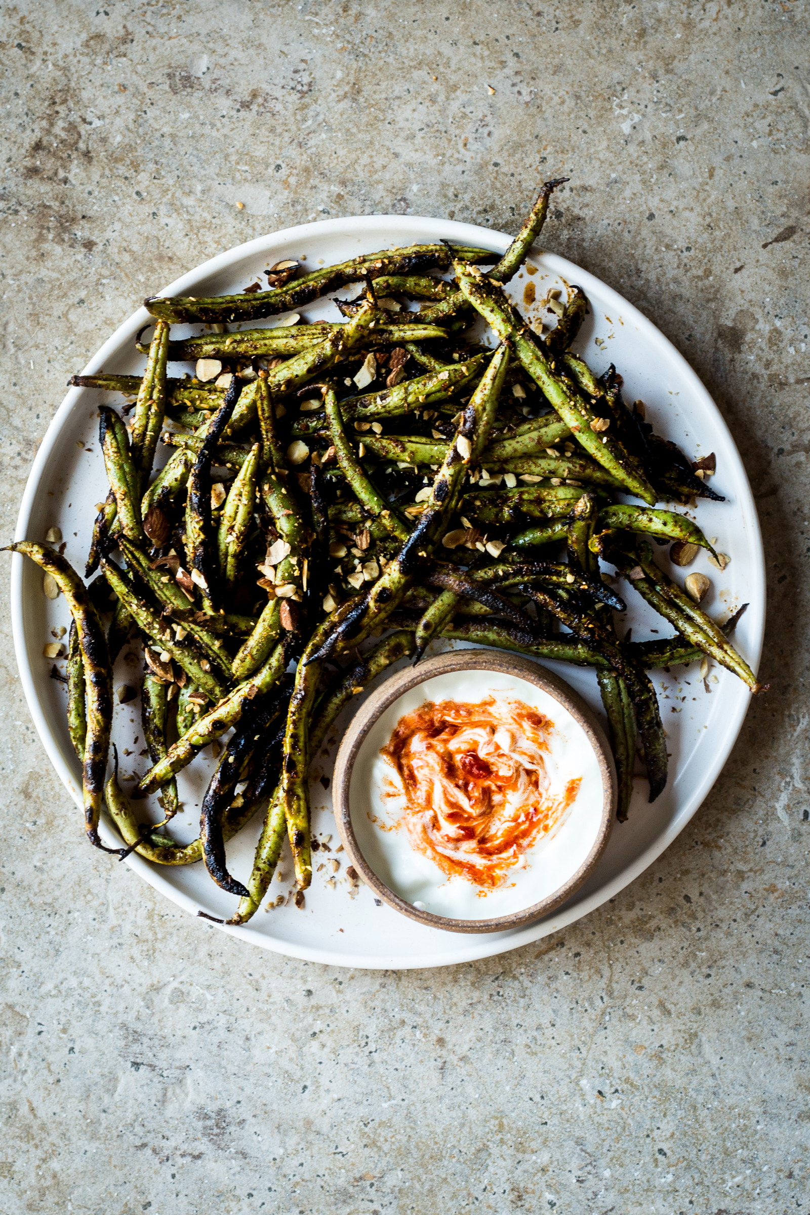 Charred Green Beans with Harissa Yogurt  (you can use any color of the beans you received)