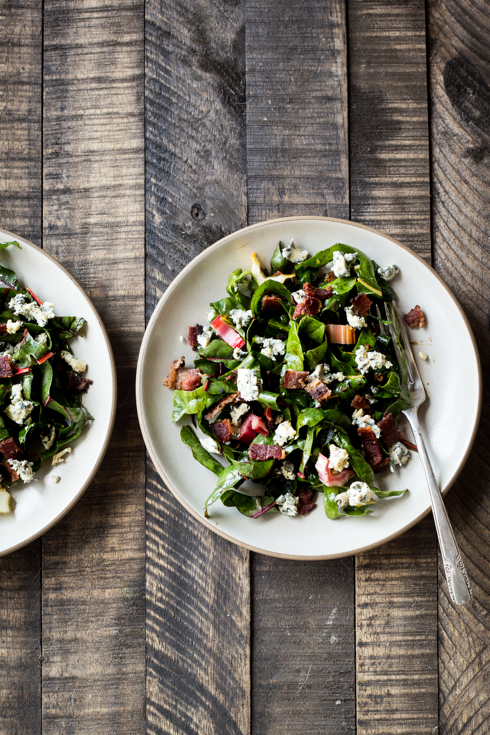 Bacon & Blue Cheese Swiss Chard Salad  (for a veggie version try substituting toasted sunflower seeds sprinkled in smoked paprika and sea salt instead of the bacon)