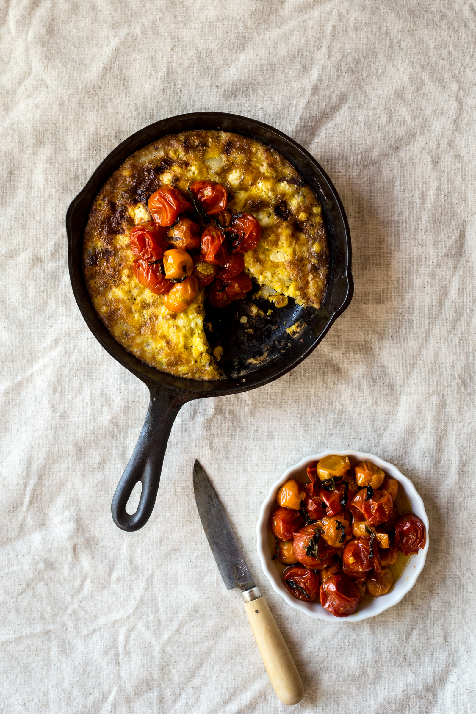 Sweet Corn Frittata with Burst Cherry Tomato Compote