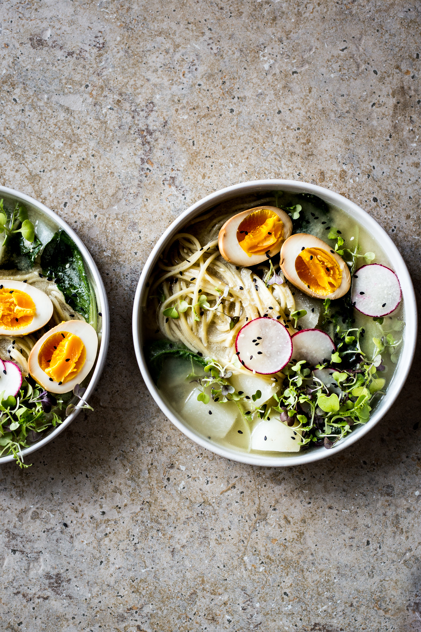 Bok Choy Miso Ramen with Soy Sauce Eggs  (replace the turnips with potatoes!)