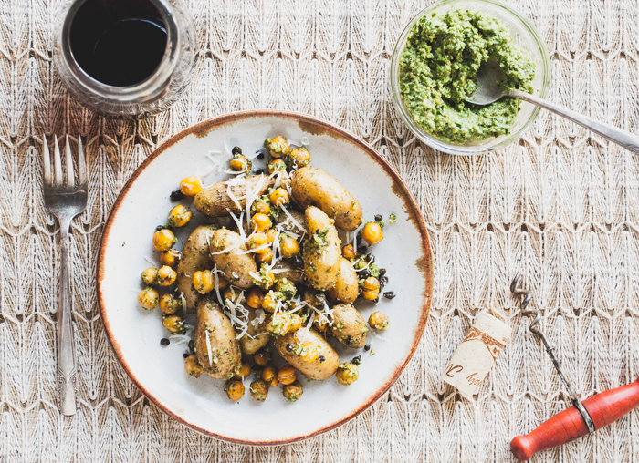 Fingerling Potato Salad with Mustard Green Pesto  (substitute the mustard greens for spinach!)