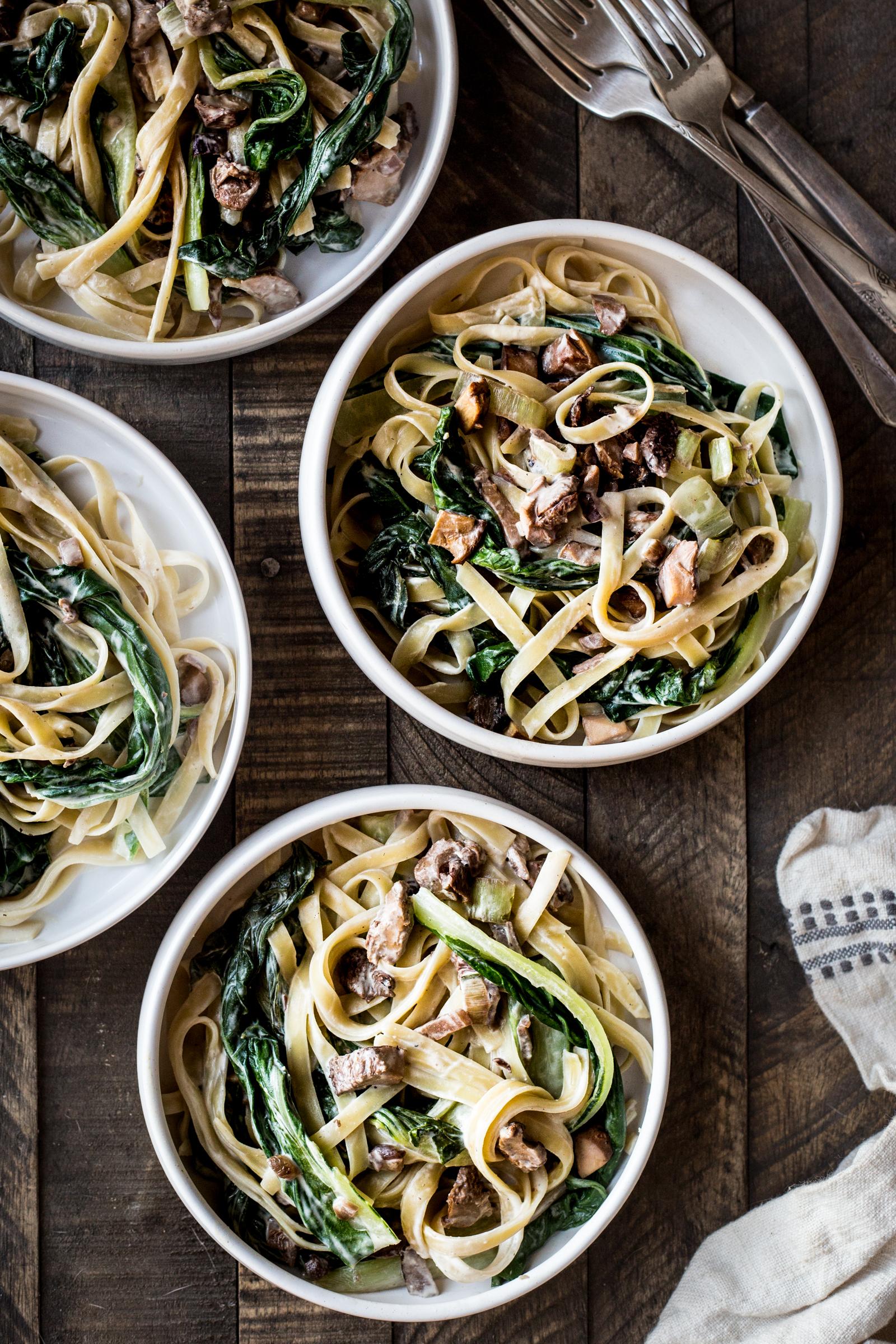 Wild Mushroom & Bok Choy Pasta with Cashew-Miso Sauce