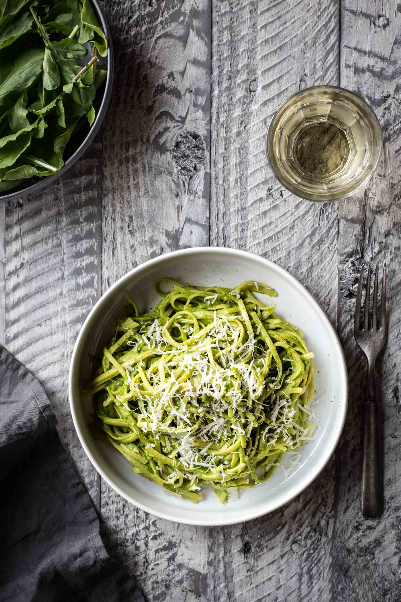 Arugula Almond Pesto Spaghetti