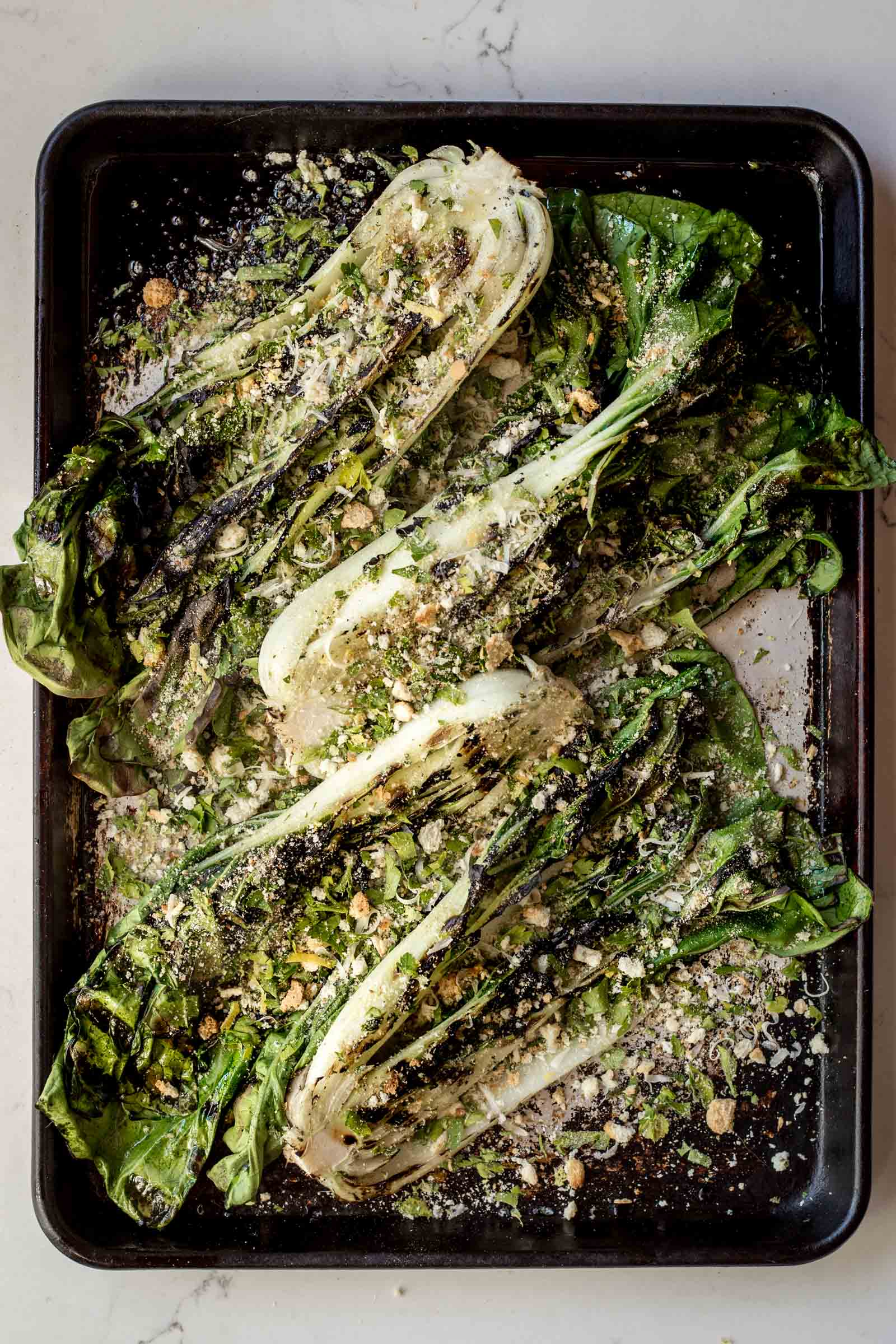 Grilled Bok Choy with Breadcrumbs, Parmesan & Lemon