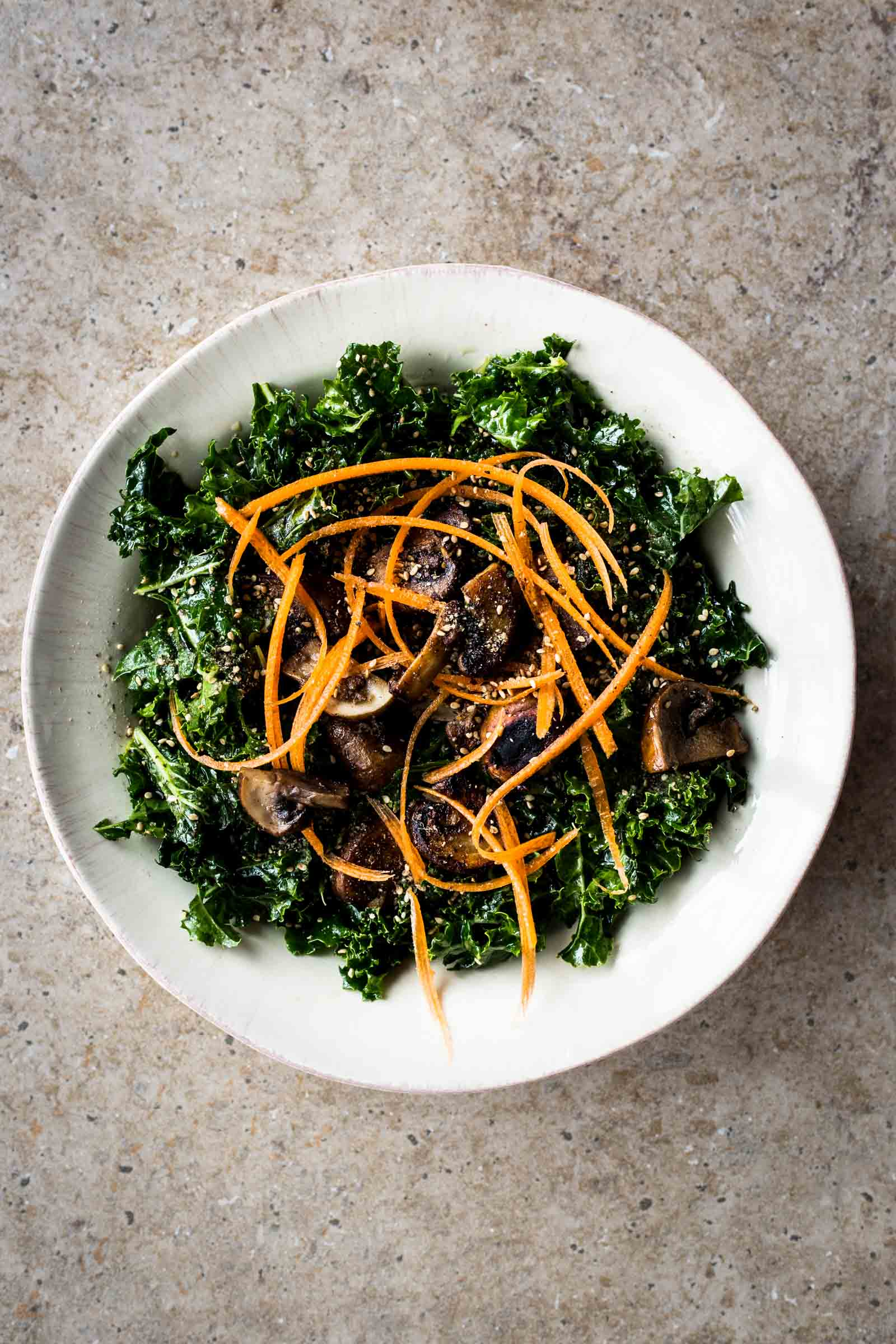 Roasted Mushroom Kale Salad