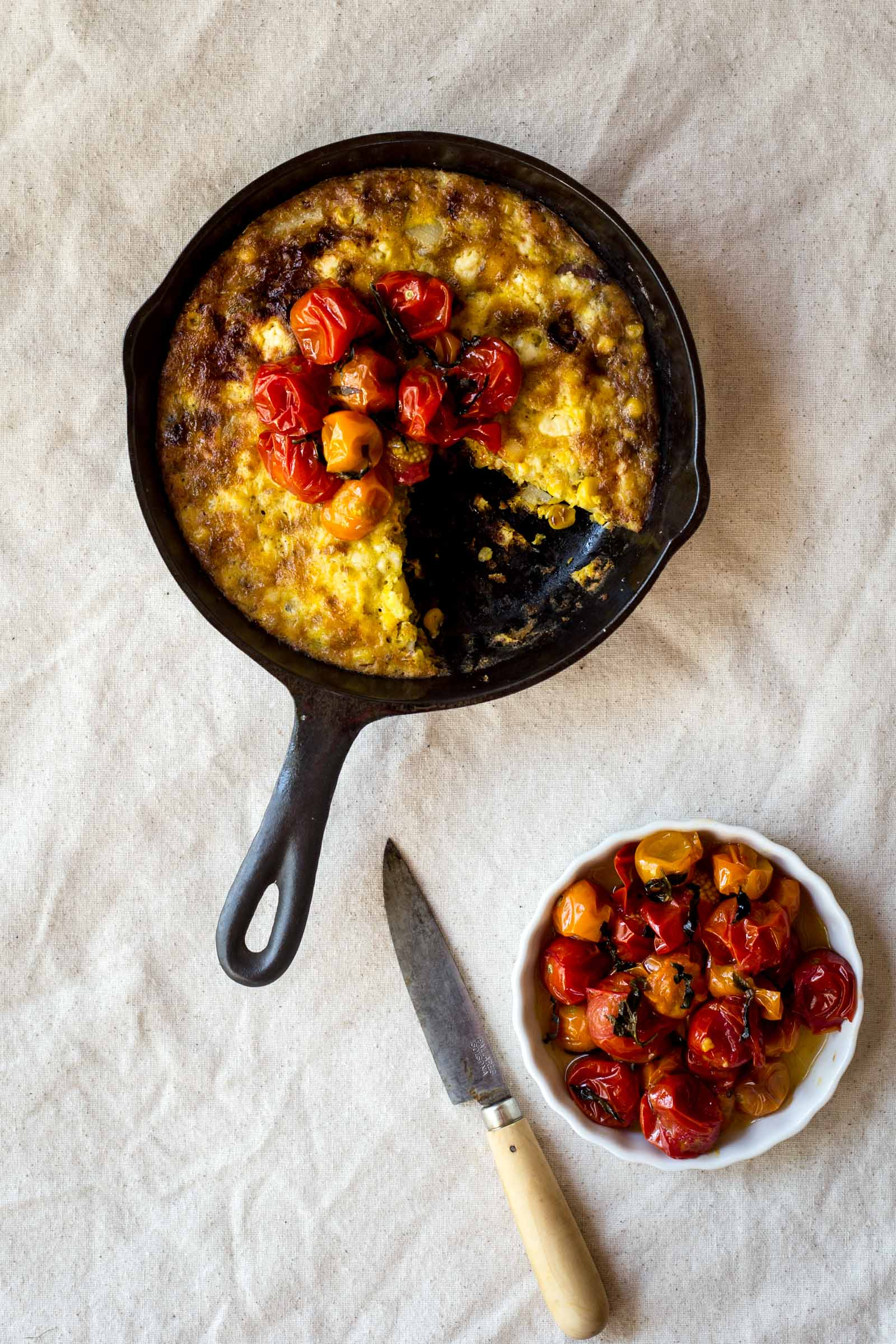 Sweet Corn Frittata with Cherry Tomato Compote